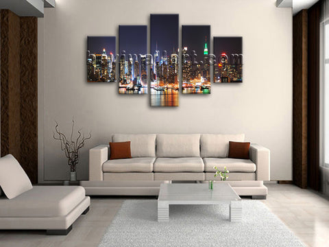 Large New York Skyline Print Wall Art Dining Room Pentaptych Pieces Giclee