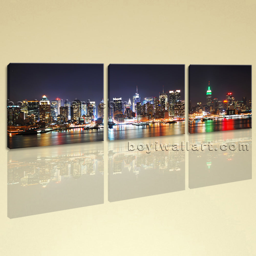 Large New York Skyline Painting Wall Art Bedroom Three Panels Canvas Print