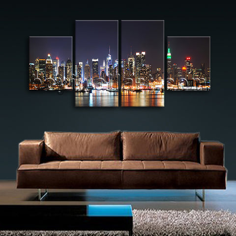 Large New York Skyline Wall Decor Photography Dining Room 4 Panels Prints