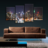 Large New York Skyline Wall Art Painting On Canvas Living Room Four Panels Print