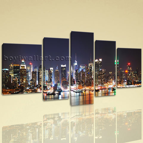 Extra Large New York Skyline Wall Art Oil Painting Pentaptych Pieces Print