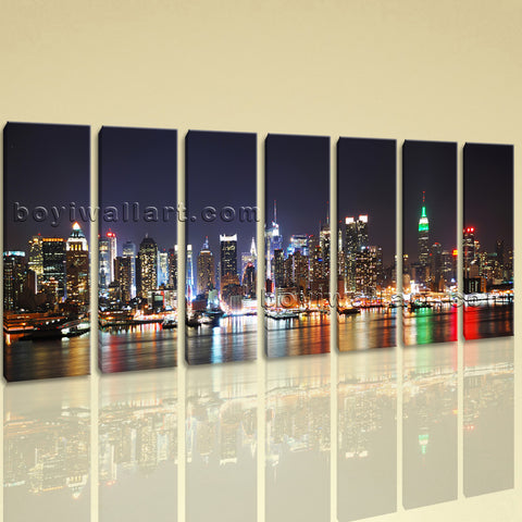 Extra Large New York Skyline Print Painting On Canvas 7 Panels Prints