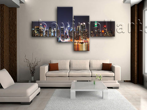 Extra Large New York Skyline Print Painting On Canvas Bedroom 4 Pieces