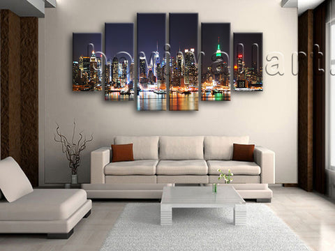 Extra Large New York Skyline Wall Decor Painting On Canvas Dining Room Print