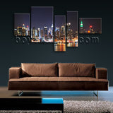 Extra Large New York Skyline Print Home Decor Bedroom Five Pieces Canvas