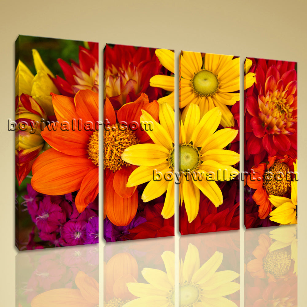 Large Abstract Floral Art Flower Canvas Contemporary Painting On Print