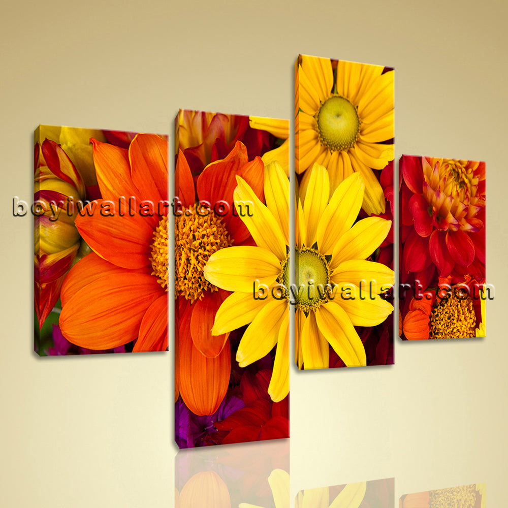 Large Abstract Floral Art Flower Painting Contemporary Bedroom 4 Pieces Print