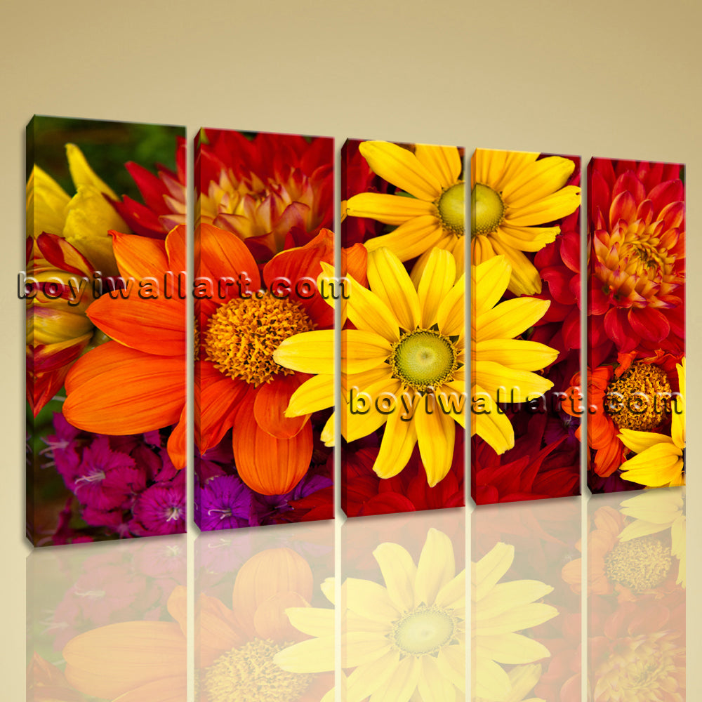 Large Abstract Floral Art Flower Print Painting Dining Room 5 Panels Giclee
