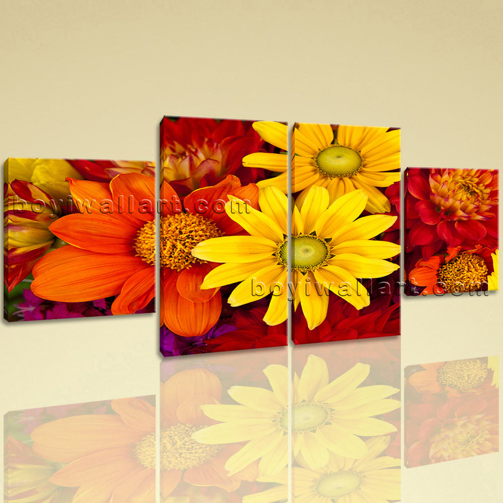 Large Abstract Floral Art Flower Canvas Wall Decor Dining Room 4 Panels Print