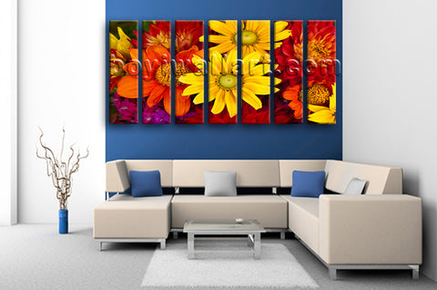 Extra Large Abstract Floral Art Flower Canvas Oil Painting Seven Panels Prints