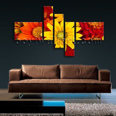 Huge Abstract Floral Art Flower Wall Decor Oil Painting Five Pieces Prints