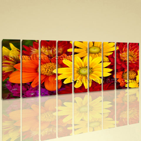 Huge Abstract Floral Art Flower Wall Decor Oil Painting 9 Panels Canvas Print