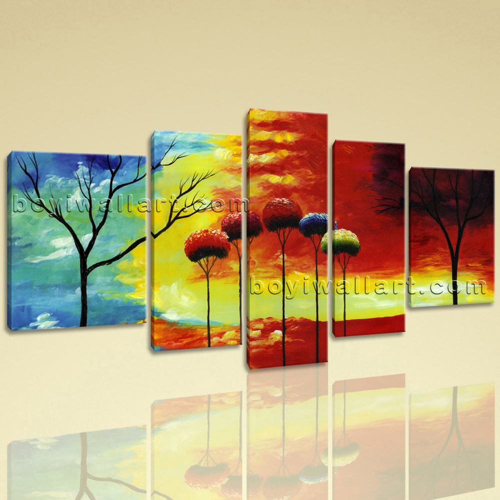 Extra Large Abstract Tree Wall Art Painting Living Room Five Panels Canvas Print