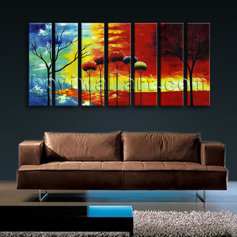 Extra Large Abstract Tree Wall Decor Painting Living Room 7 Pieces Prints