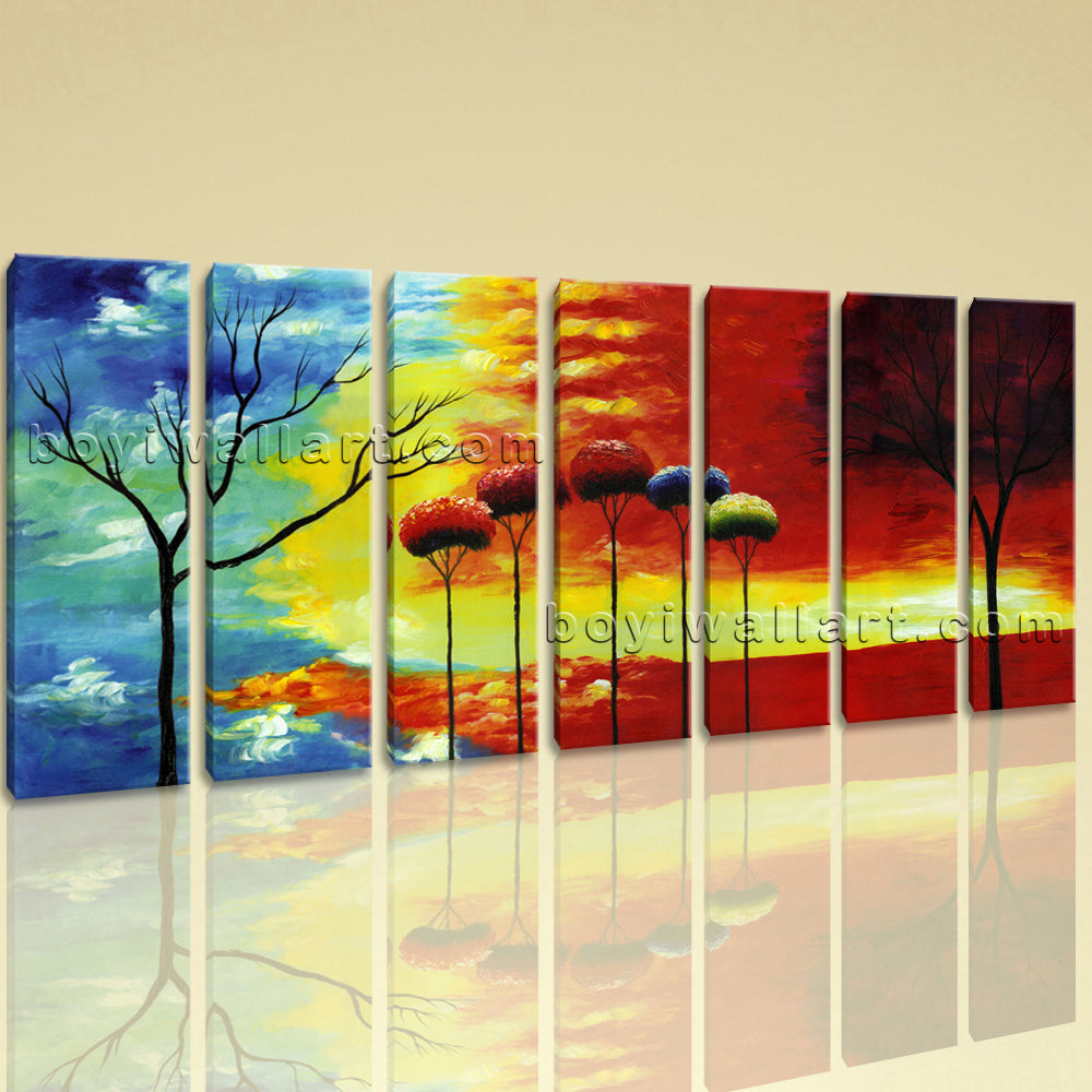 Extra Large Abstract Tree Wall Decor Painting Living Room 7 Pieces ...