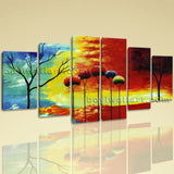 Extra Large Abstract Tree Wall Decor Art Painting Dining Room Six Pieces Print