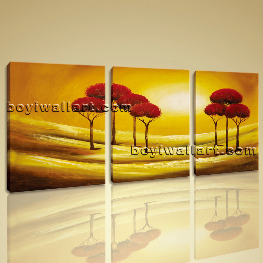 Large Abstract Tree Landscape Print Wall Art Living Room Three Pieces Giclee