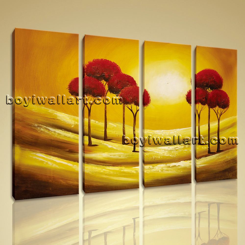 Large Abstract Tree Landscape Painting Home Decor Tetraptych Panels Print
