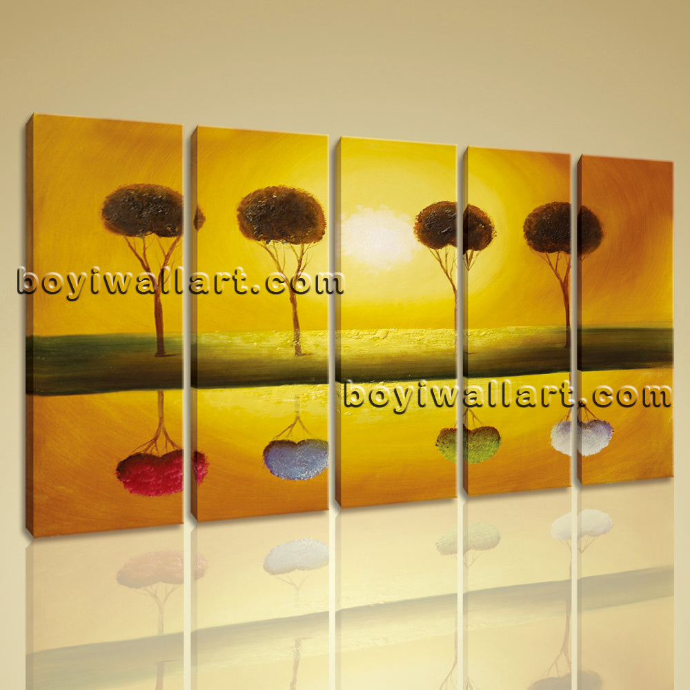 Large Abstract Tree Landscape Painting Oil Dining Room Pentaptych Pieces Prints