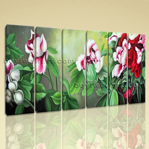 Large Pleasant Painting Flower Picture Classic Home Decor Six Pieces Prints