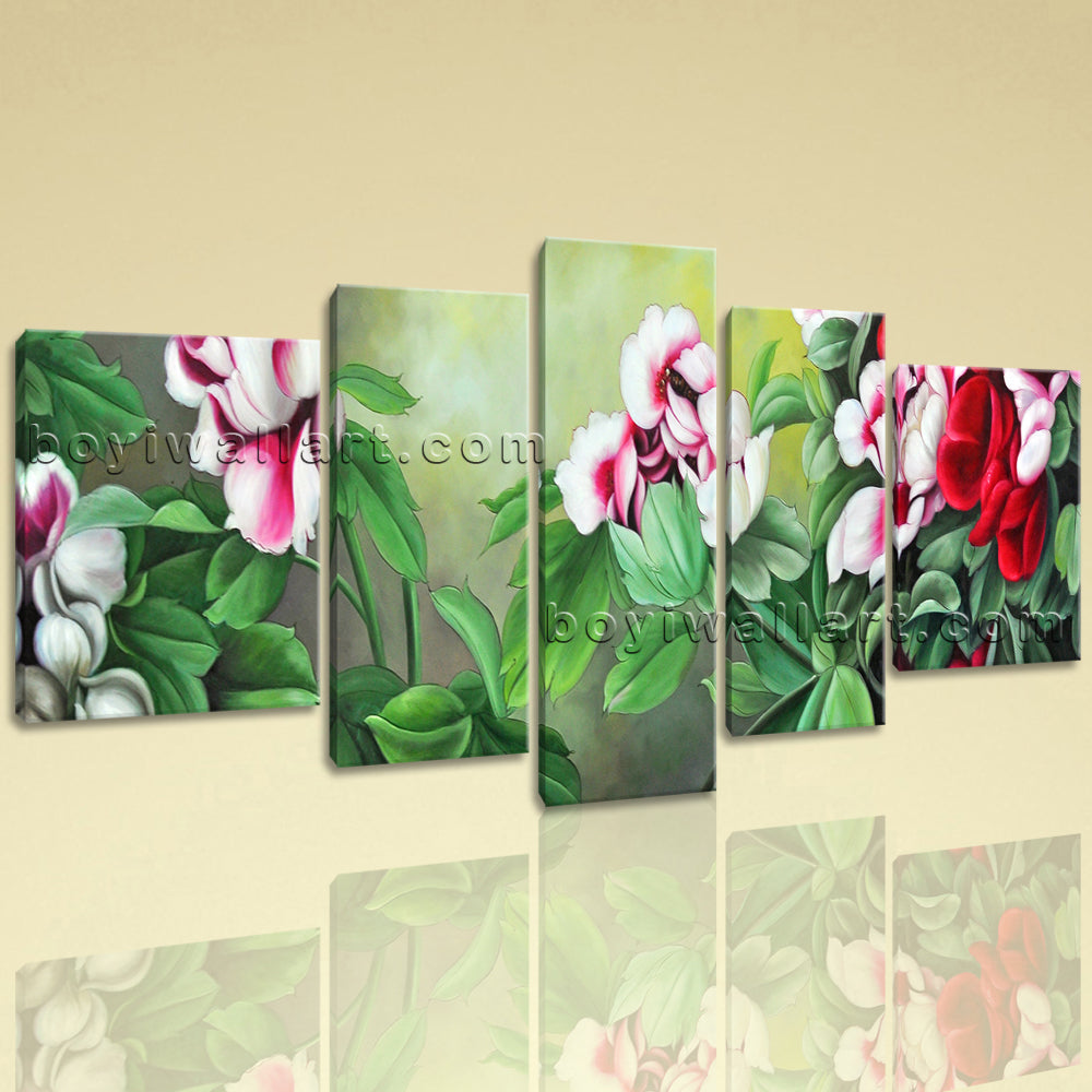 Extra Large Pleasant Painting Flower Picture Classic Oil Five Panels Print
