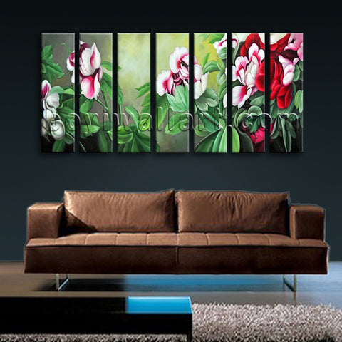 Extra Large Pleasant Painting Flower Classic Home Decor Seven Pieces Prints