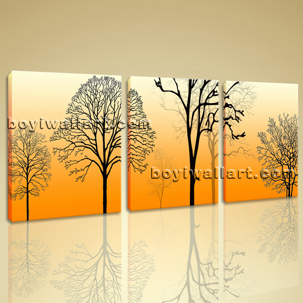 Large Modern Abstract Tree Picture Art Painting Triptych Pieces Print