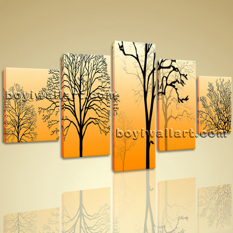 Large Modern Abstract Tree Wall Art Decor Dining Room Five Pieces Prints