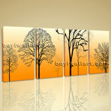 Large Modern Abstract Tree Painting Bedroom Four Panels Prints