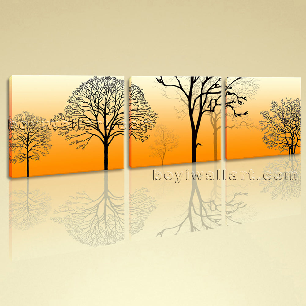 Large Modern Abstract Tree Wall Art Painting Bedroom Three Panels ...
