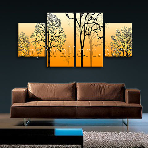 Large Modern Abstract Tree Wall Art Dining Room Four Pieces Prints