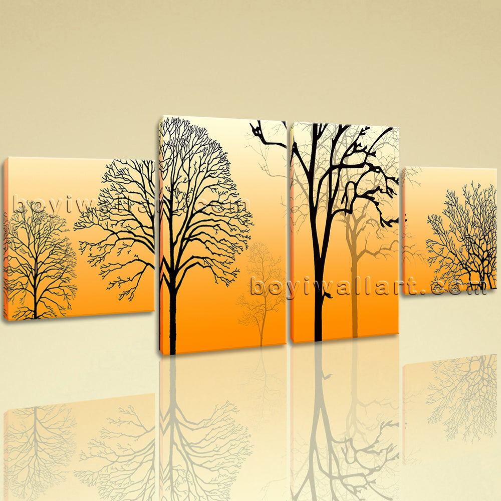 Large Modern Abstract Tree Wall Art Dining Room Four Pieces Prints ...