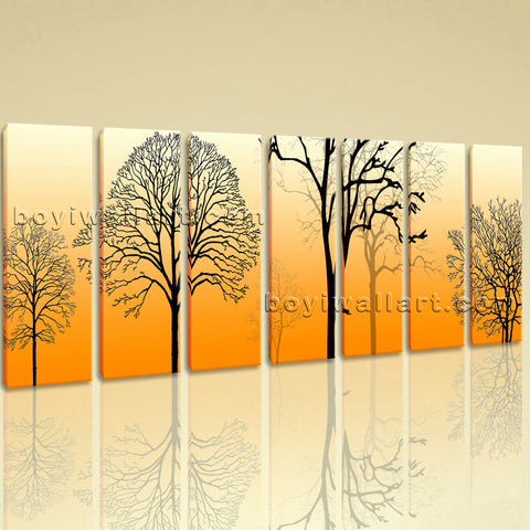 Extra Large Modern Abstract Tree Hd Print Painting Heptaptych Panels Prints