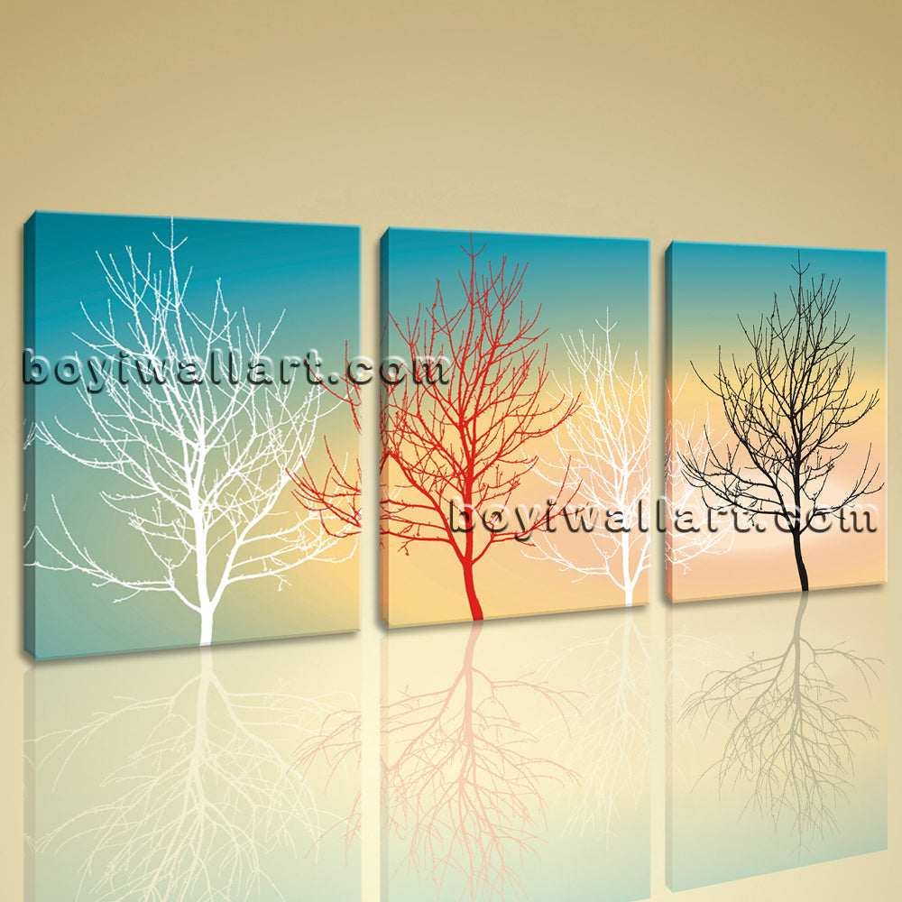 Large Modern Abstract Tree Picture Painting On Canvas Triptych ...