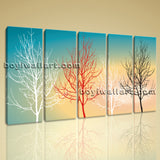 Large Modern Abstract Tree Painting On Canvas Dining Room 5 Panels Giclee Print