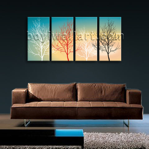 Large Modern Abstract Tree Wall Decor Oil Painting Bedroom 4 Panels Giclee Print