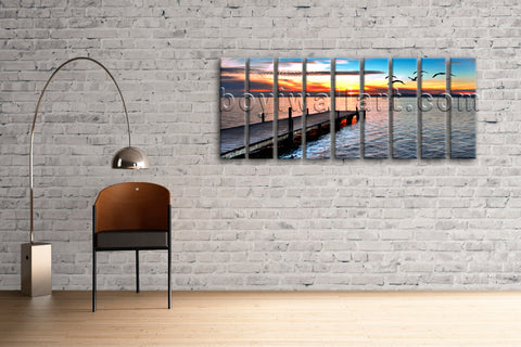 Beautiful Sunset Glow Wall Art Print Canvas HD Picture Home Decor Beach Bridge