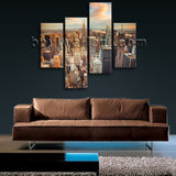 Large Cityscape Canvas Art New York Painting Living Room Four Panels Print