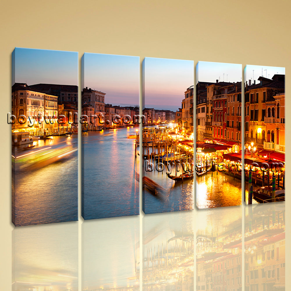 Large Contemporary Canvas Wall Art Print Painting Italy Venice Night HD Picture