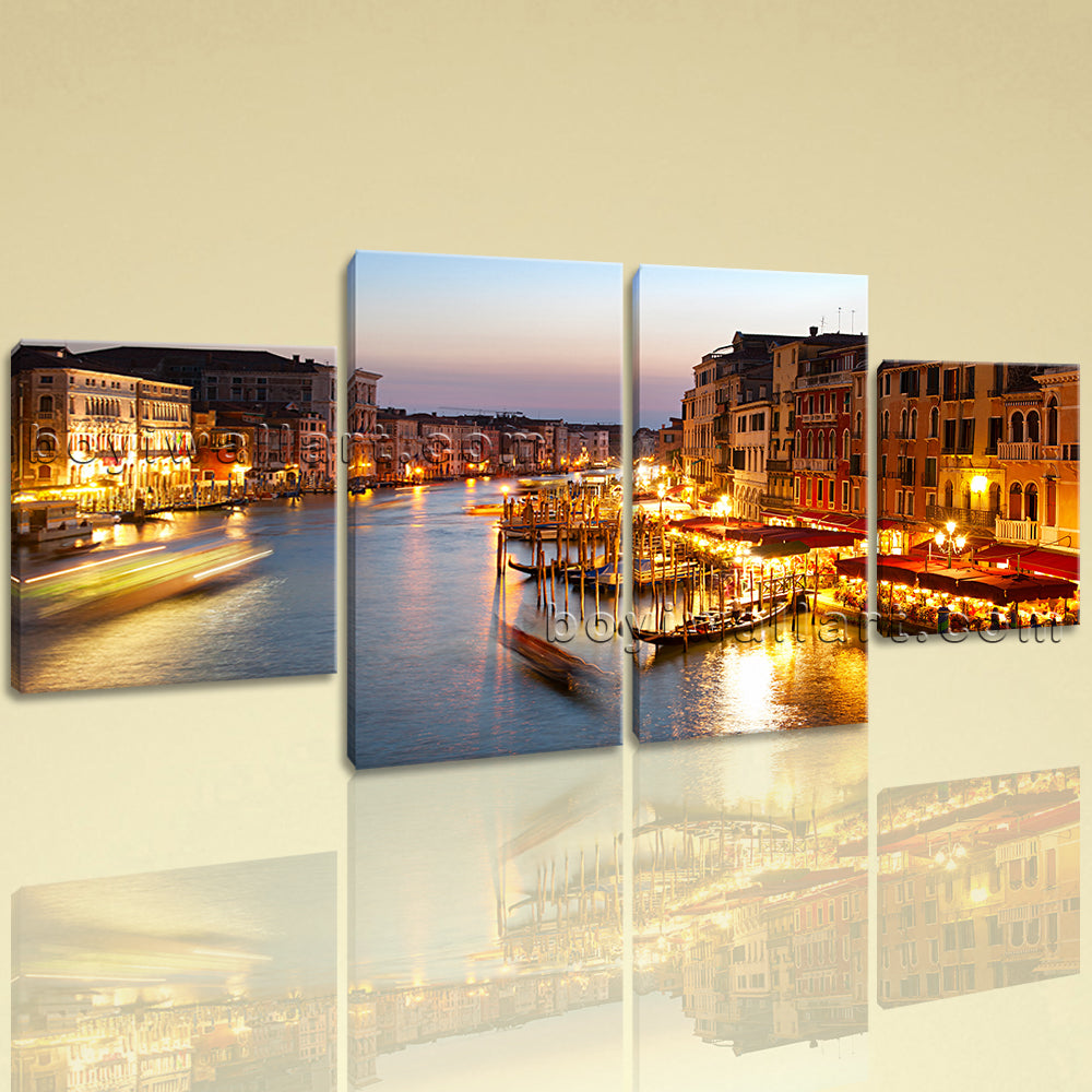 Large Cityscape Picture Venice Home Decor Dining Room 4 Pieces Art Print