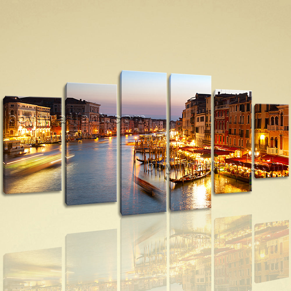 Large Cityscape Picture Venice Canvas Art On Dining Room Hexaptych Panels print