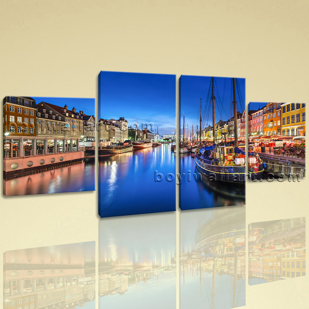 Large Cityscape Print Venice Picture Painting Dining Room Tetraptych Pieces