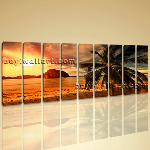 Large Sunset Landscape Contemporary Beach HD Picture Print On Canvas Wall Art