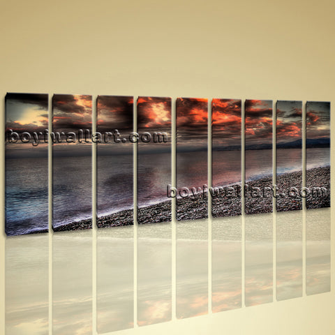 HD Beach Ocean Seascape Contemporary Wall Art Canvas Print Home Decoration Image