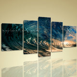 Big Wall Art Canvas Print Hd Ocean Wave Surf Sunset Contemporary Home Decor