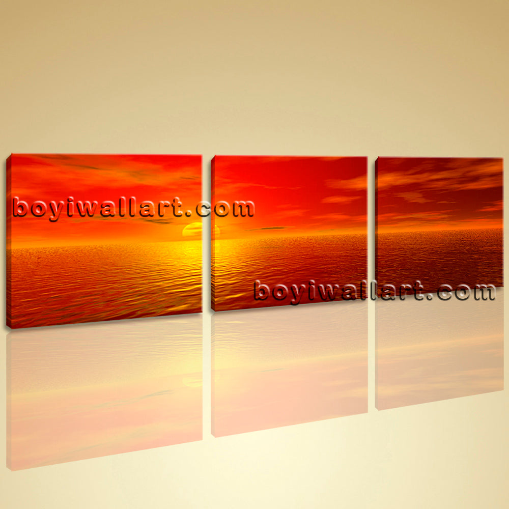 Big Wall Art Canvas Print HD Ocean Seascape Sunset Glow Contemporary ...