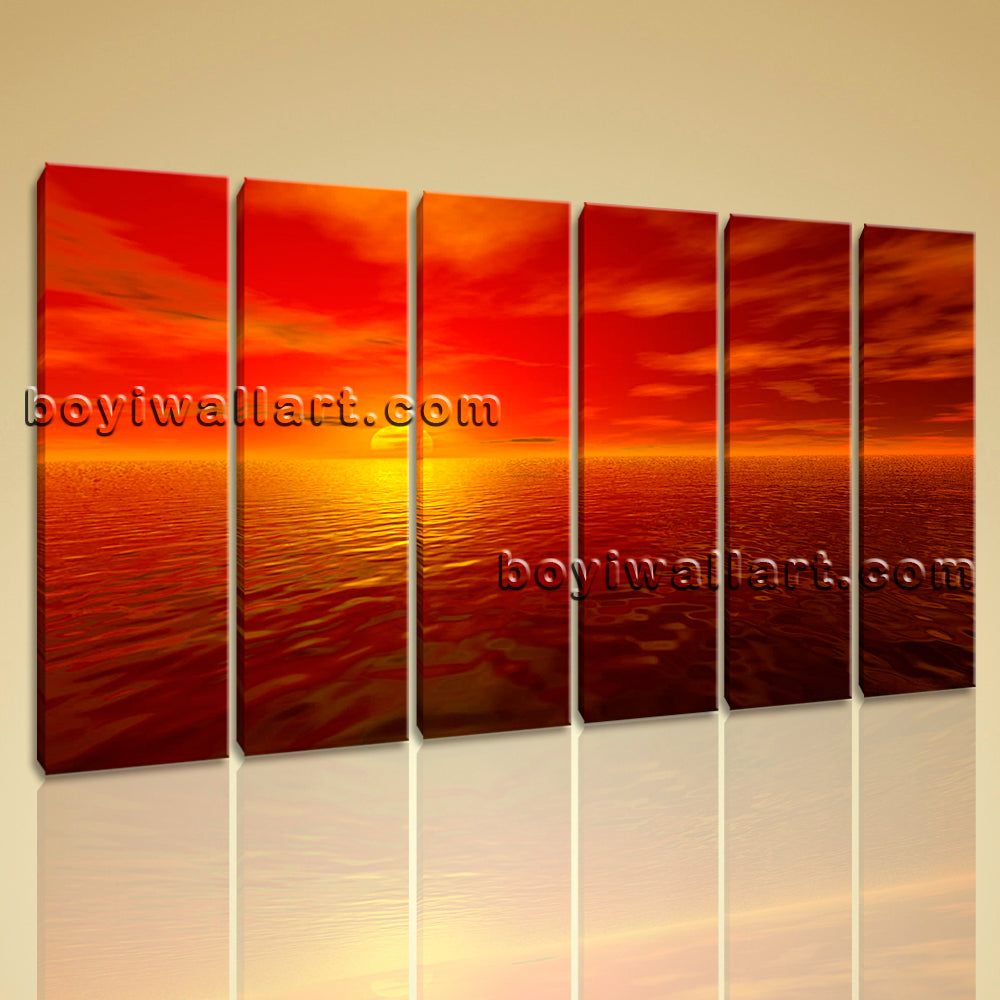 Big Wall Art Canvas Print HD Ocean Seascape Sunset Glow Contemporary Home Decor