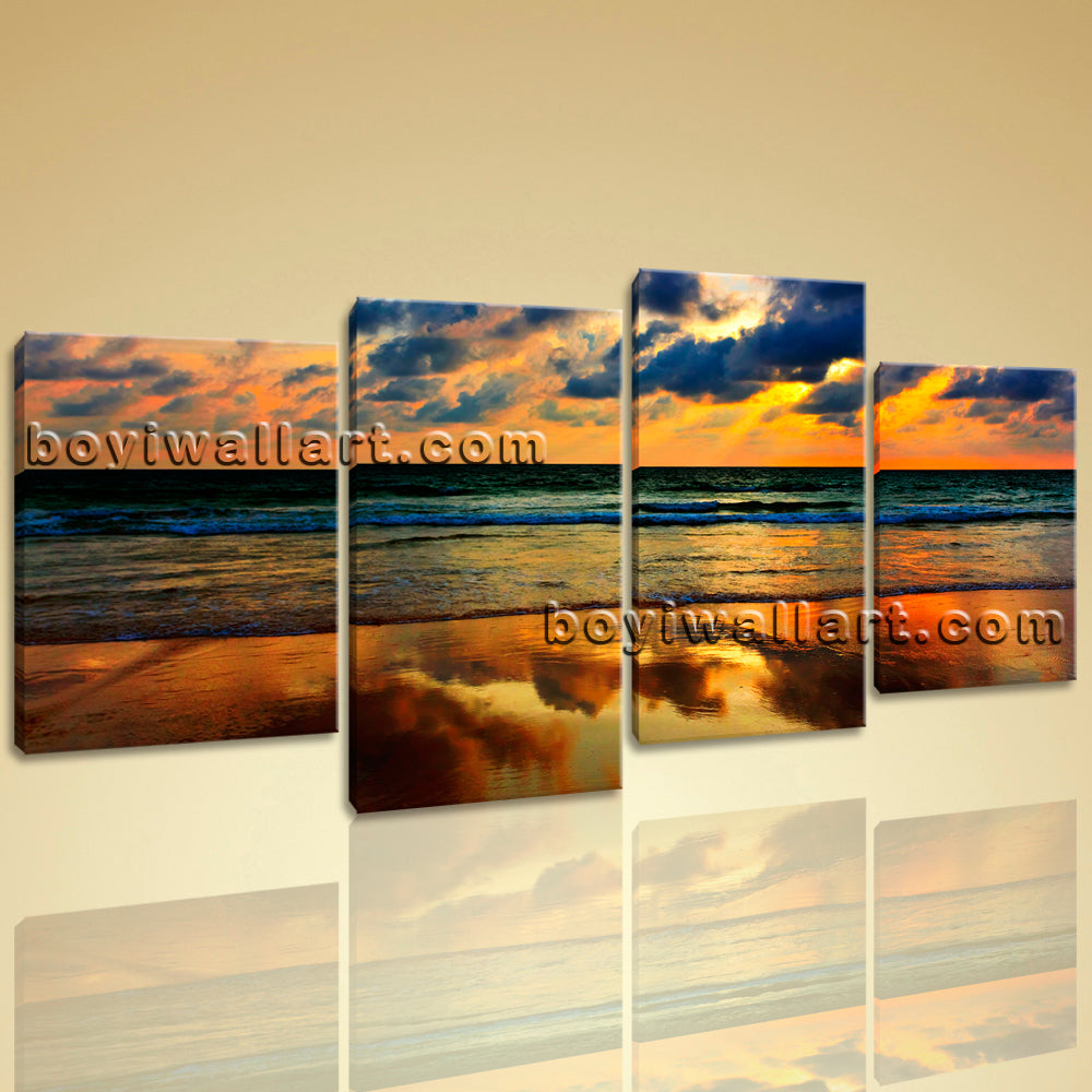 Large Contemporary Modern Wall Art Print On Canvas Sunset Seascape HD Picture