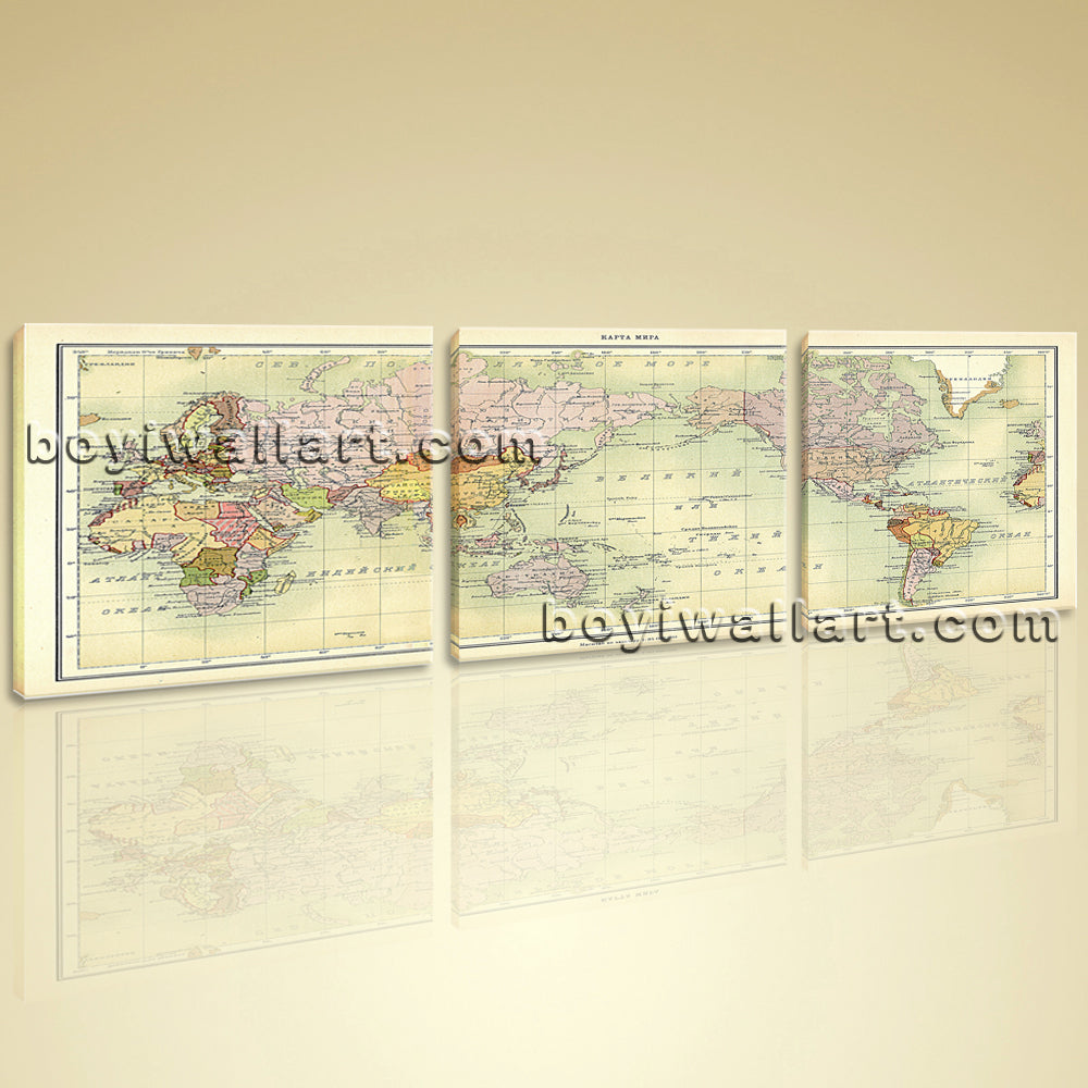 Oversized World Map Global Atlas HD Print On Canvas Modern ...