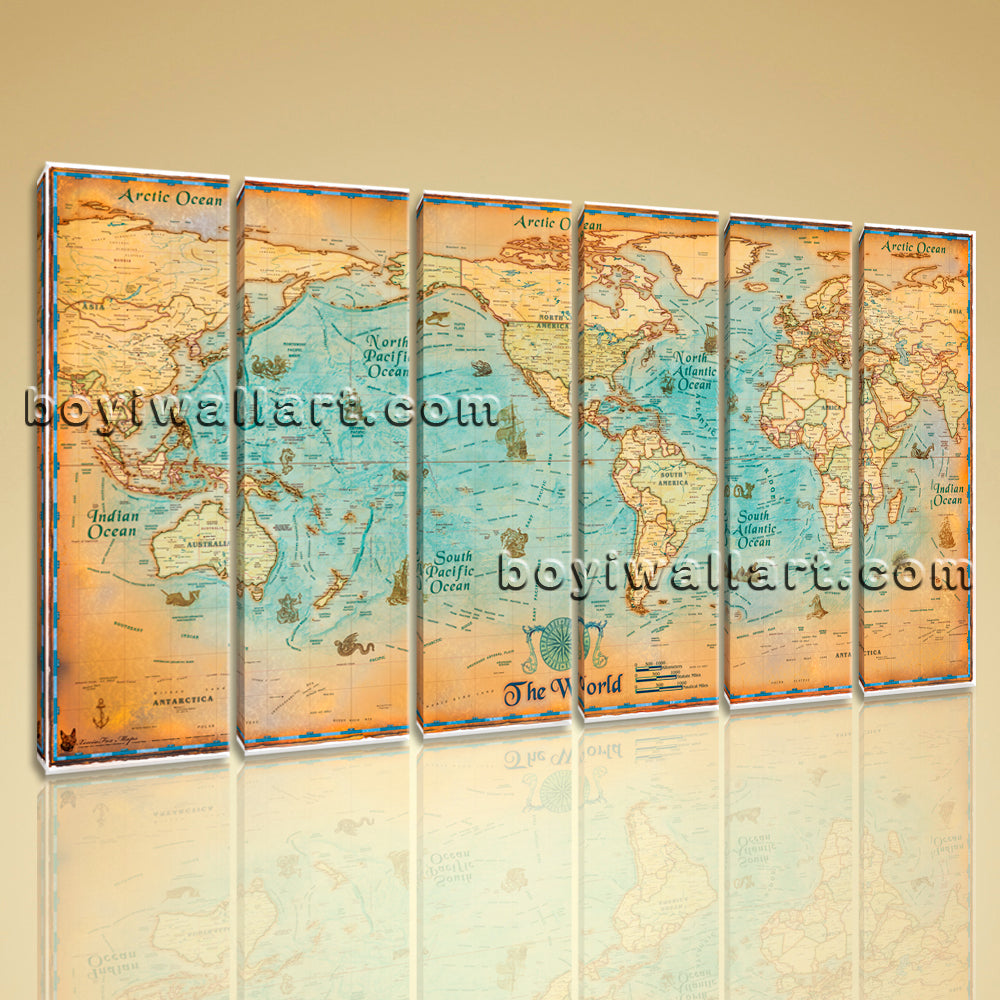 Oversized World Map Global HD Canvas Print Retro Giant Picture Wall ...